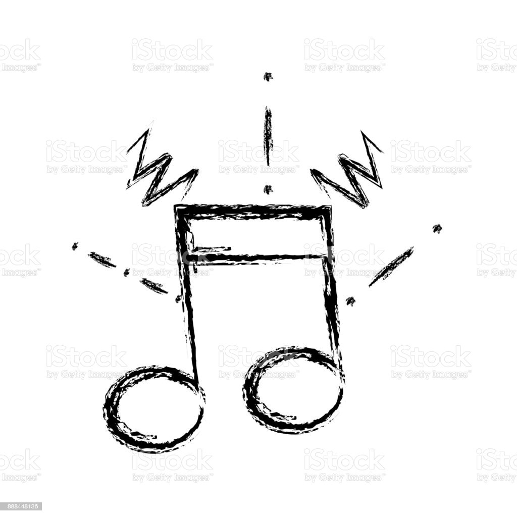 figure musical note sign to rhythm sound vector art illustration