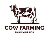 Figure of a cow with horns standing on the ground - farming emblem, design, illustration