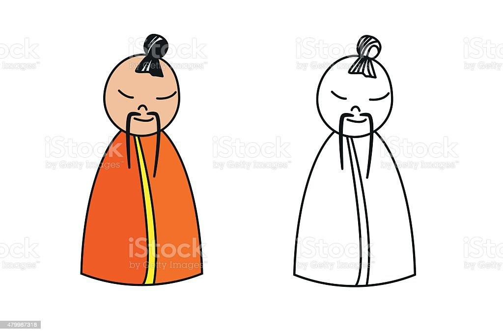 Ilustración de Figura De China Monje Para Colorear Libro y más banco ...