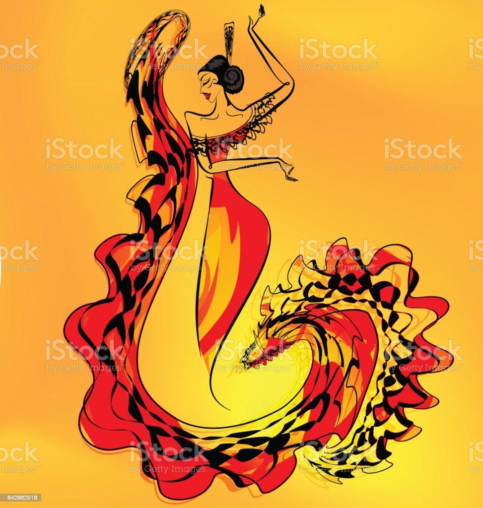 figura de chica bailarina de flamenco - ilustración de arte vectorial