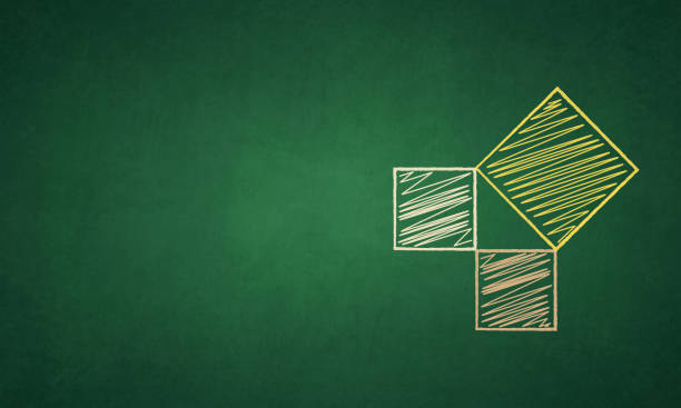 A figure representing pythagorean theorem,  a right angled triangle formed with the joined vertices of three squares over a green colored black board A grungy gradient blackboard with a diagram of a right angled isosceles triangle formed by three squares connected at the vertices. The diagram represents three squares denoting that sum of squares of two sides is equal to the square of the third side. Two squares in peach and orange color chalk lines form the the base and altitude or perpendicular and one side of slightly bigger yellow colored square placed tilted forms the hypotenuse. The geometric figure is hand drawn in peach, yellow and orange colored chalks. The lines of the sides are very neatly drawn. The squares are filled with scribble, scribbles or scribbling marks. The drawing is to the right in the frame and copyspace to the left. No people. The blackboard has a green gradient with dark corners and sides while the middle or center is in a lighter tone name of person stock illustrations