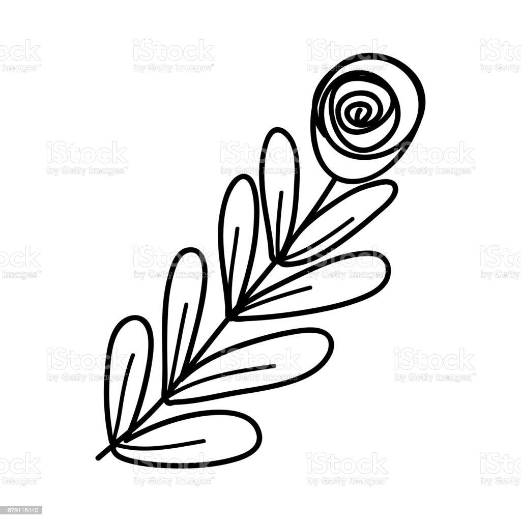 Figure rose avec des feuilles de succursale figure rose avec des feuilles de succursale – cliparts vectoriels et plus d'images de arbre libre de droits