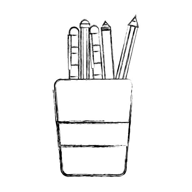figure school utensils inside cup tool design vector art illustration