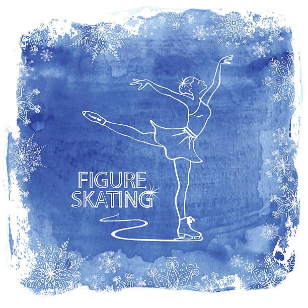 Figure skater girl on a watercolor background Winter illustration with figure skater girl framed by snowflakes on a watercolor background figure skating stock illustrations