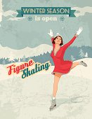 Winter sport poster in retro style with figure skater girl and titles. Fully layered EPS 10.