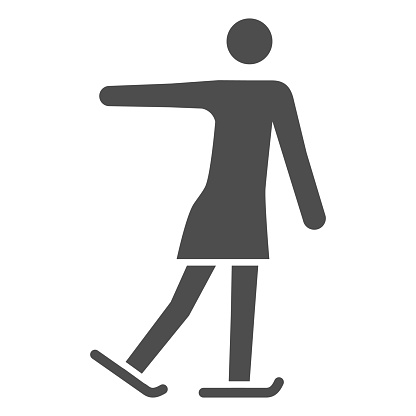 Figure skater performs exercise solid icon, Winter sport concept, Ladies figure skating silhouette sign on white background, sport figure skating icon in glyph style. Vector graphics.