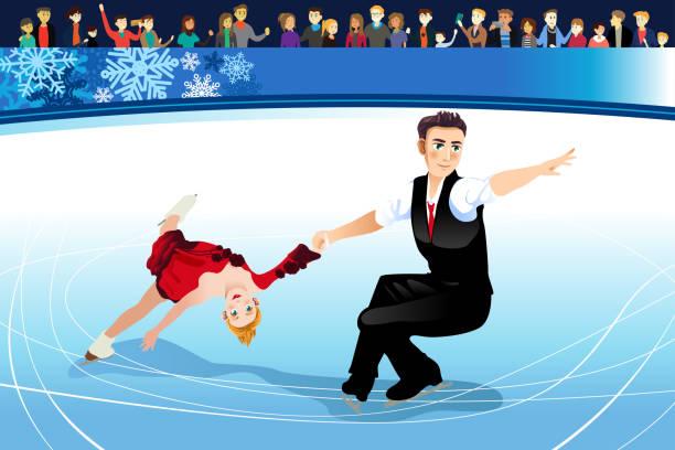 Figure Skating Athletes Competing Illustration A vector illustration of Figure Skating Athletes Competing figure skating stock illustrations