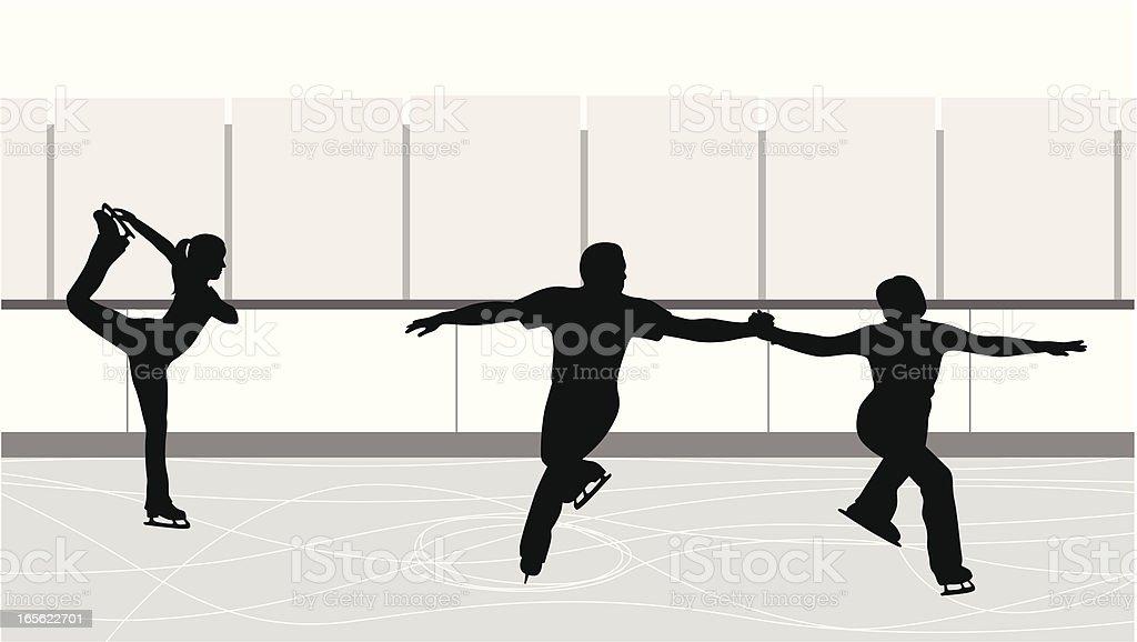 Figure Skating Practice Vector Silhouette royalty-free stock vector art