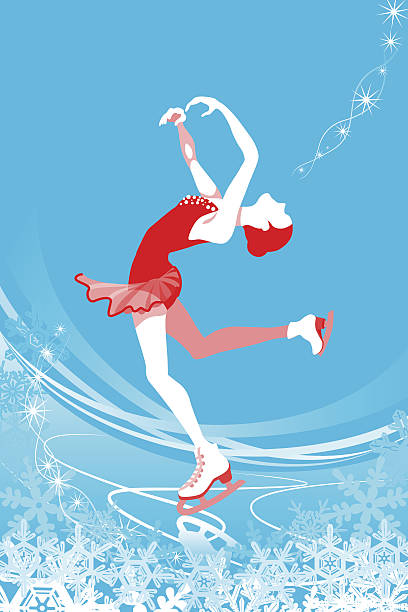Figure Skating woman -blue color Vector illustration of Figure Skating woman on blue color background. figure skating stock illustrations