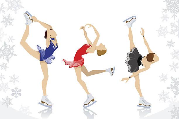Figure Skating,three women Vector illustration of Figure Skating,three women. figure skating stock illustrations