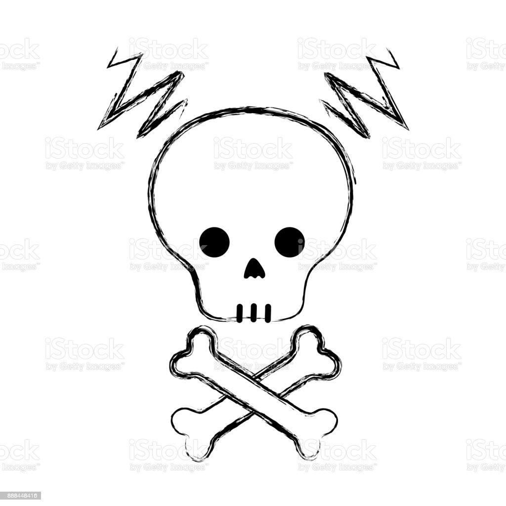 figure skull with bones to dander symbol to death vector art illustration