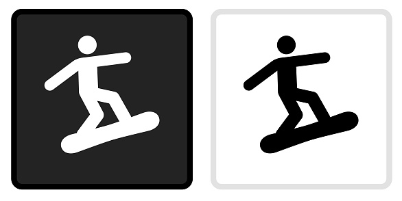 Figure Snowboarding Icon on  Black Button with White Rollover