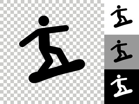 Figure Snowboarding Icon on Checkerboard Transparent Background