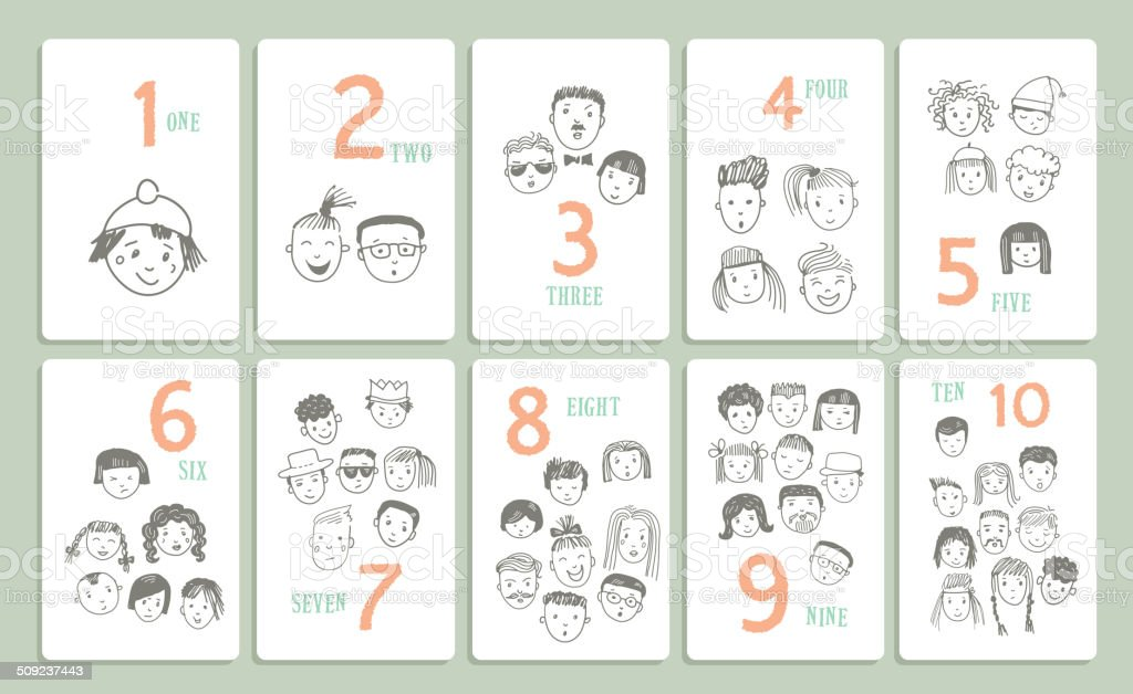 Figures. Learn to count. Set with different funny faces.Vector. vector art illustration