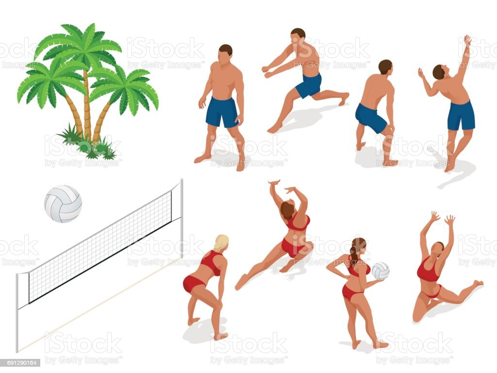 Figures of people when playing volleyball. Beach volley ball concept....