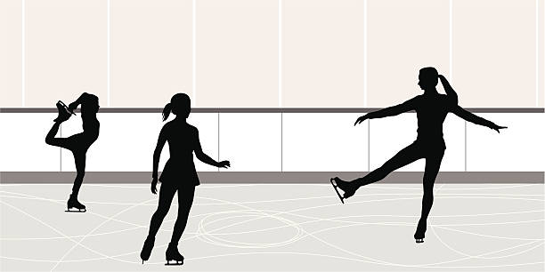 Figures Vector Silhouette A-Digit figure skating stock illustrations