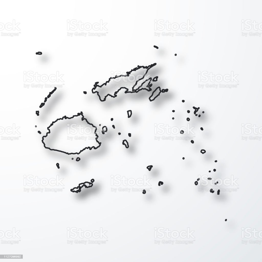 Fiji Map Black Outline With Shadow On White Background Stock