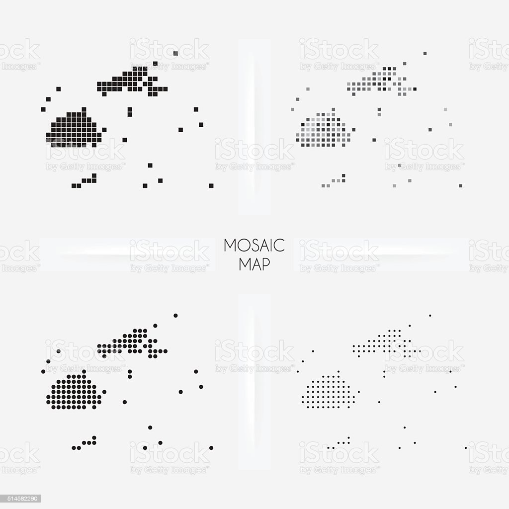 Fiji maps - Mosaic squarred and dotted vector art illustration
