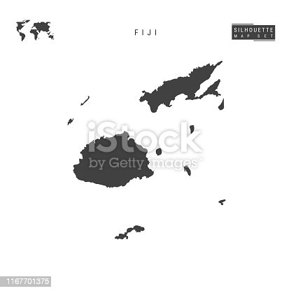 Fiji Blank Vector Map Isolated on White Background. High-Detailed Black Silhouette Map of Fiji.