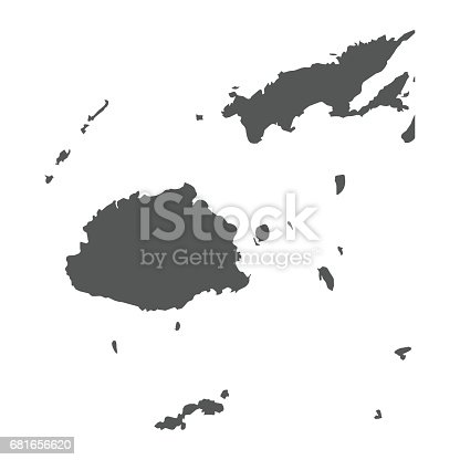Fiji vector map. Black icon on white background.