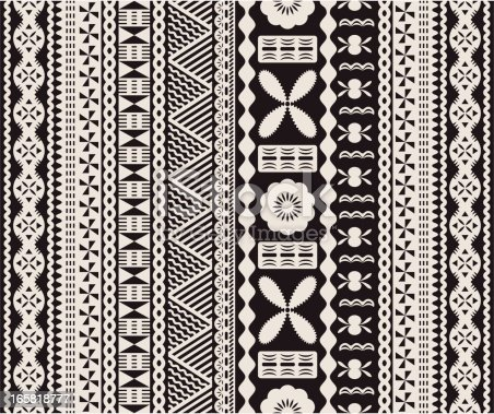 Seamless Fijian tapa pattern in two colors.