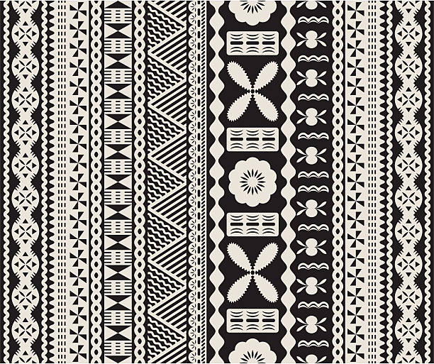 Fijian tapa pattern. vector art illustration