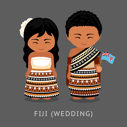Fijians in national dress with a flag.