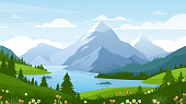 Cartoon flat panorama of spring summer beautiful nature, green grasslands meadow with flowers, forest, scenic blue lake, mountains on horizon background, mountain lake landscape vector illustration.