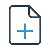file add thin colour line vector icon