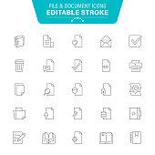 Document, Newspaper, Data, Magnifying Glass, Editable Stroke Icon Set