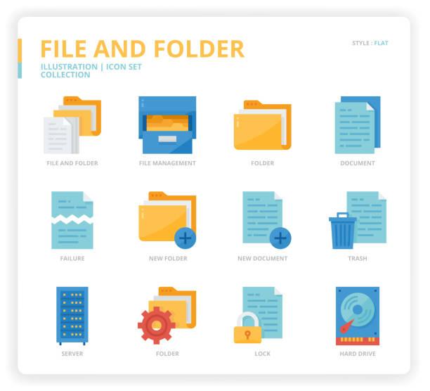 File and folder icon set File and folder icon set for web design, book, magazine, poster, ads, app, etc. svg stock illustrations