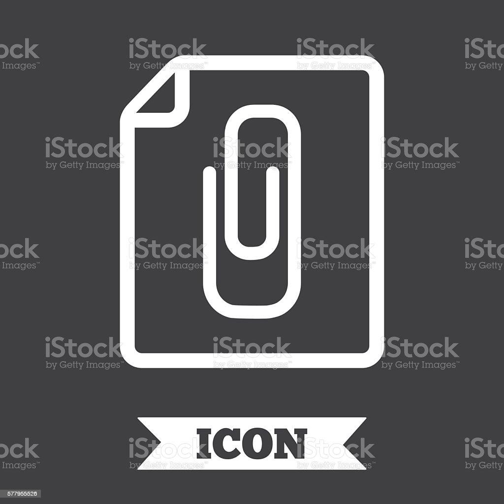 Annexe icône du fichier. Trombone symbole. - Illustration vectorielle