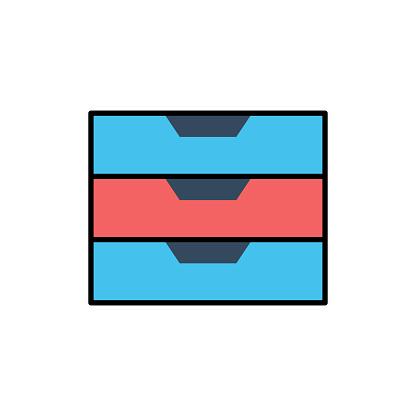 File Cabinet Flat Icon. Flat Design Vector Illustration