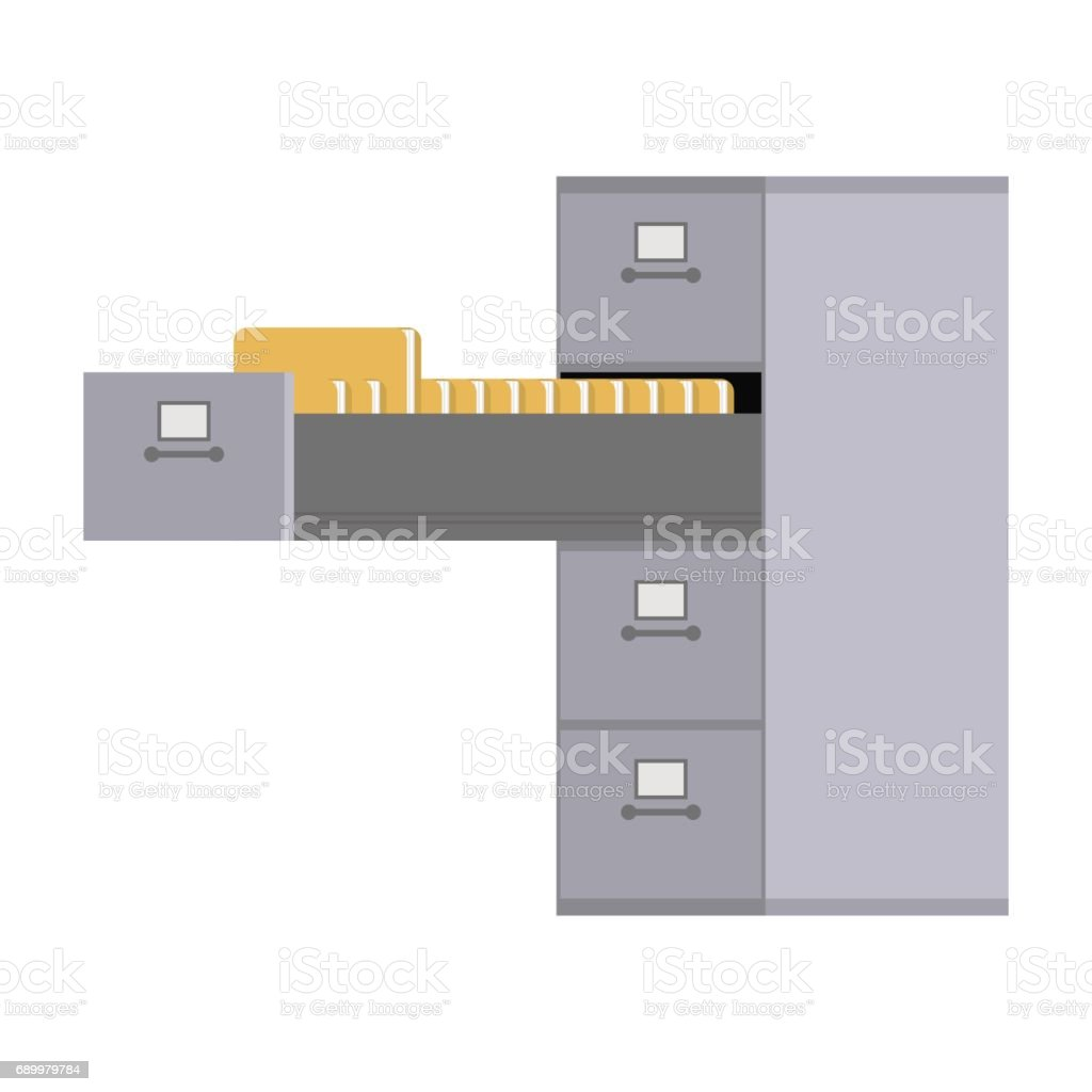File Cabinet open. Card index  Iron box for documents. Office furniture vector art illustration