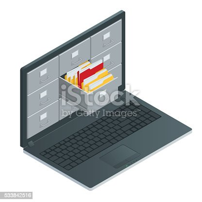 File cabinets inside the screen of laptop computer. Data storage 3d isometric vector illustration.