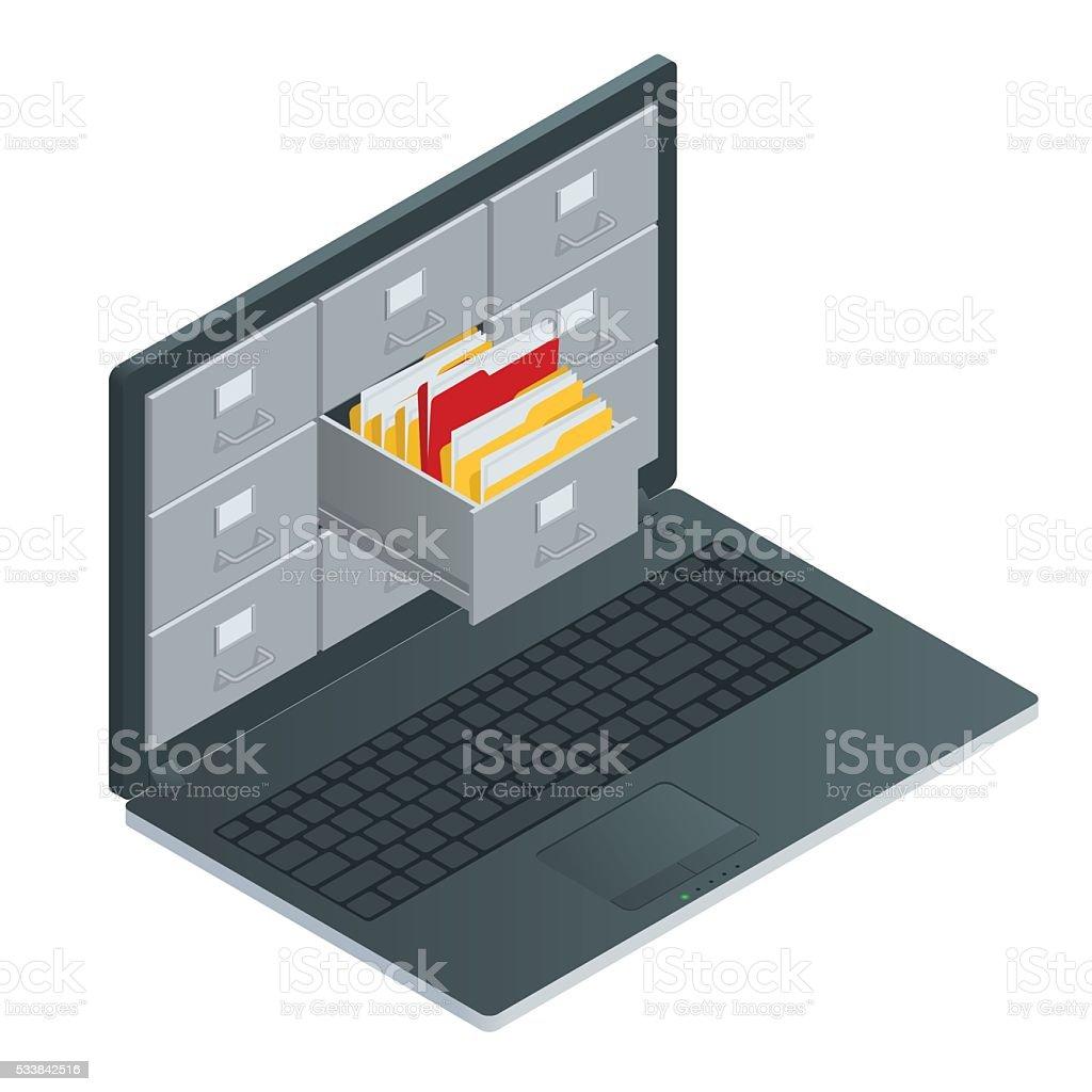 Datei Schränke im Bildschirm für laptop-computer – Vektorgrafik