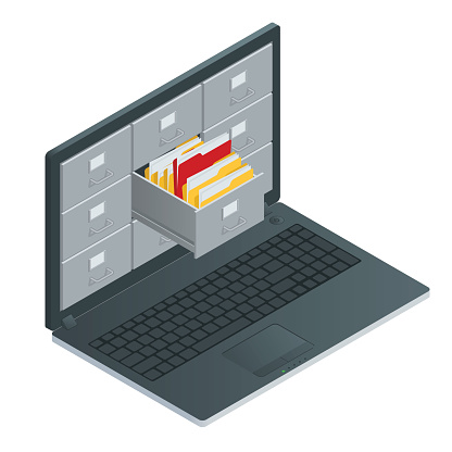 File Cabinets Inside The Screen Of Laptop Computer Stock Illustration - Download Image Now