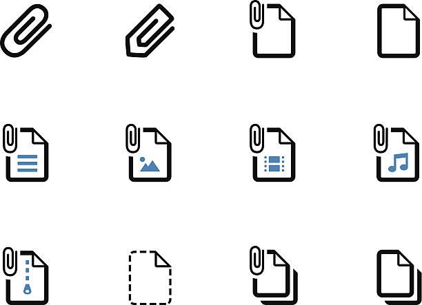 파일 건조클립 duotone 아이콘 흰색 배경. - 종이 클립 stock illustrations