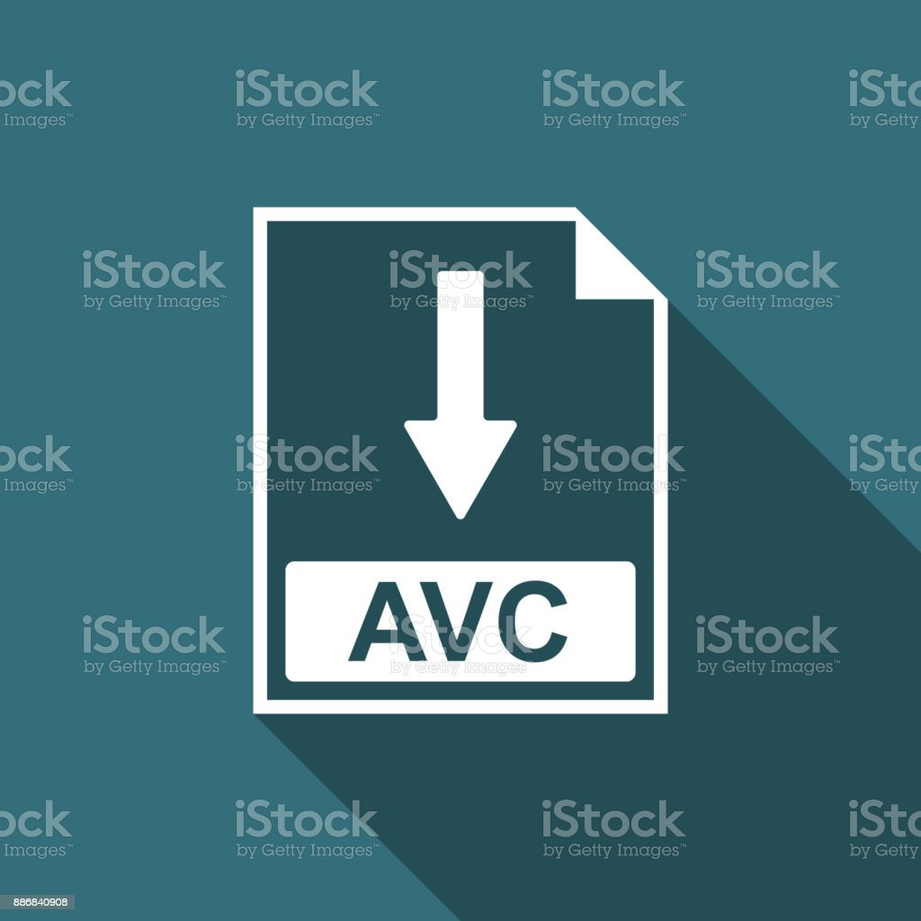 AVC file document icon. Download AVC button icon isolated with long shadow. Flat design. Vector Illustration vector art illustration