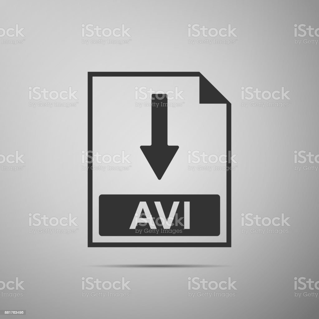 AVI file document icon. Download AVI button icon isolated on grey background. Flat design. Vector Illustration vector art illustration