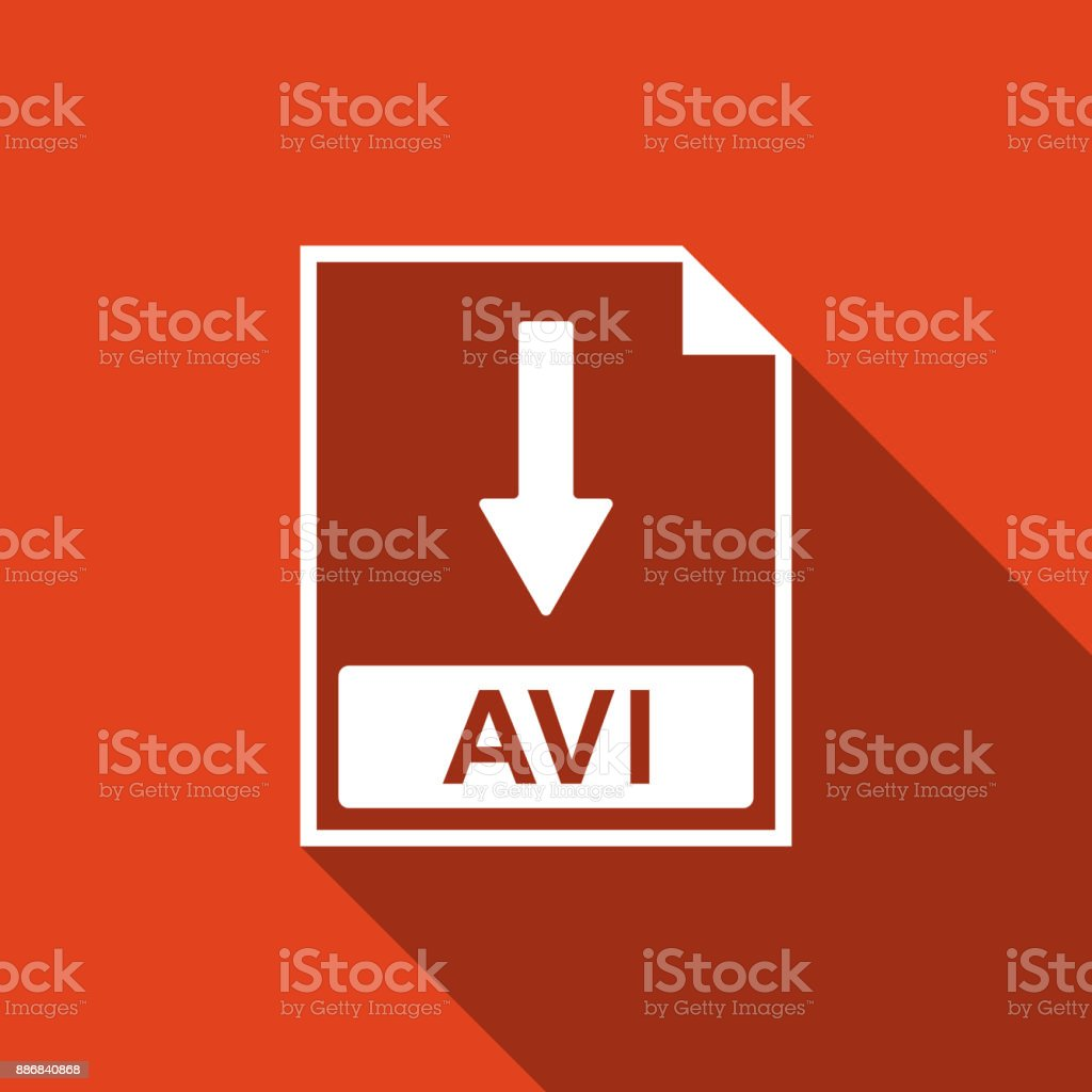 AVI file document icon. Download AVI button icon isolated with long shadow. Flat design. Vector Illustration vector art illustration