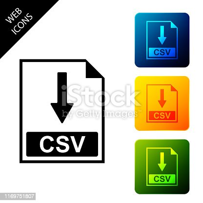 CSV file document icon. Download CSV button icon isolated. Set icons colorful square buttons. Vector Illustration