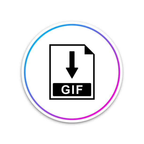 gif 檔文檔圖示。下載在白色背景上隔離的 gif 按鈕圖示。圓圈白色按鈕。向量插圖 - gif 幅插畫檔、美工圖案、卡通及圖標