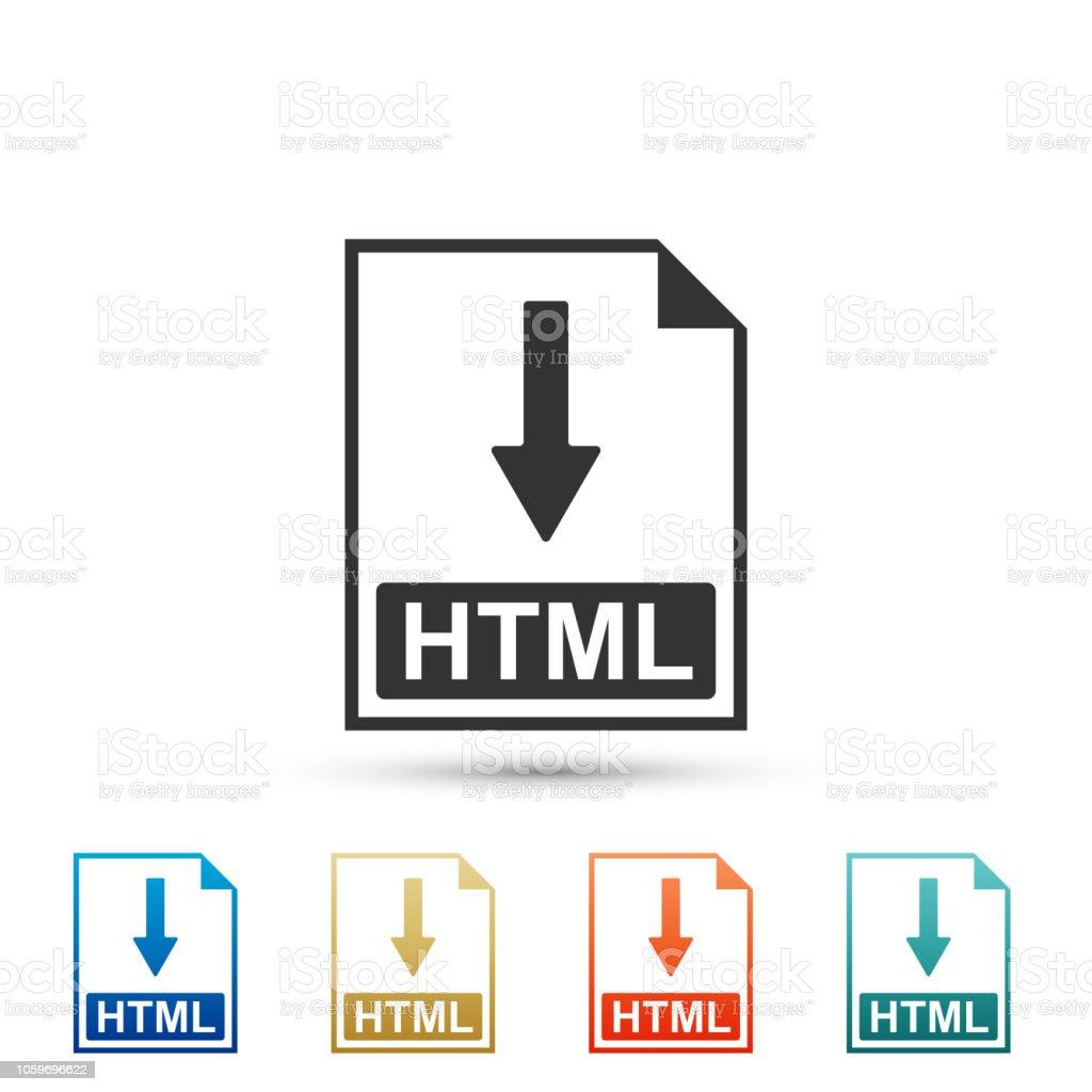 Htmldokument Dateisymbol Download Htmlbuttonsymbol Isoliert Auf ...