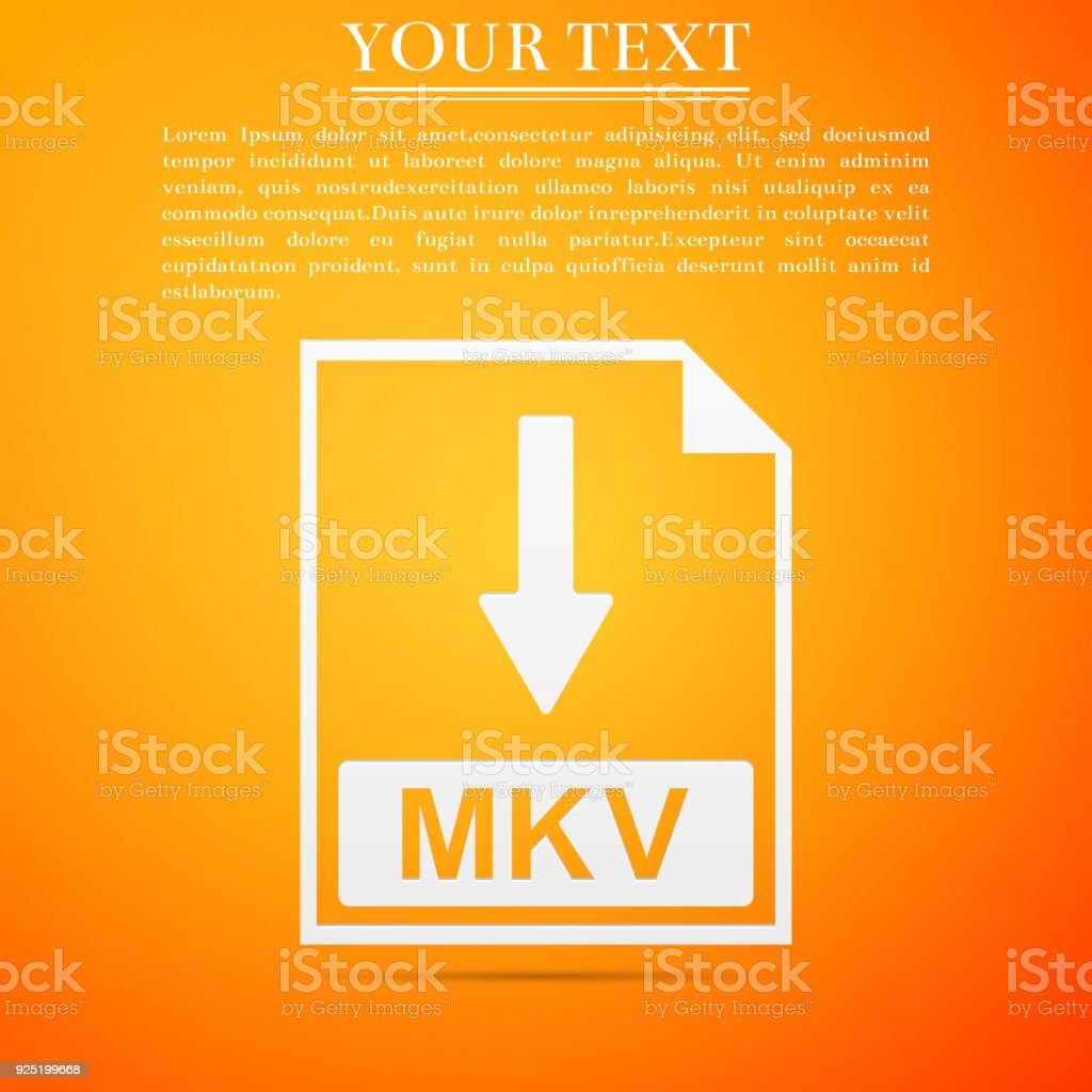 MKV file document icon. Download MKV button icon isolated on orange background. Flat design. Vector Illustration vector art illustration