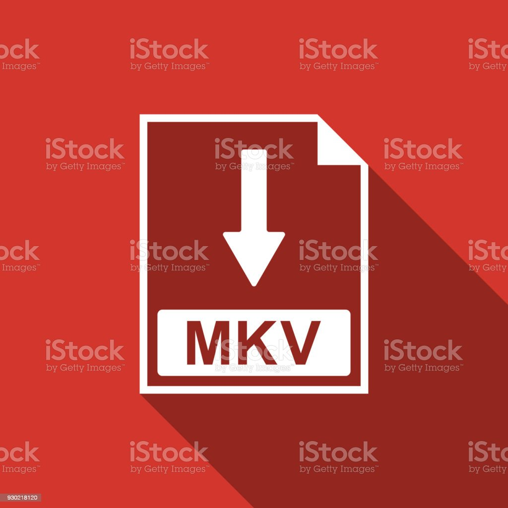 MKV file document icon. Download MKV button icon isolated with long shadow. Flat design. Vector Illustration vector art illustration