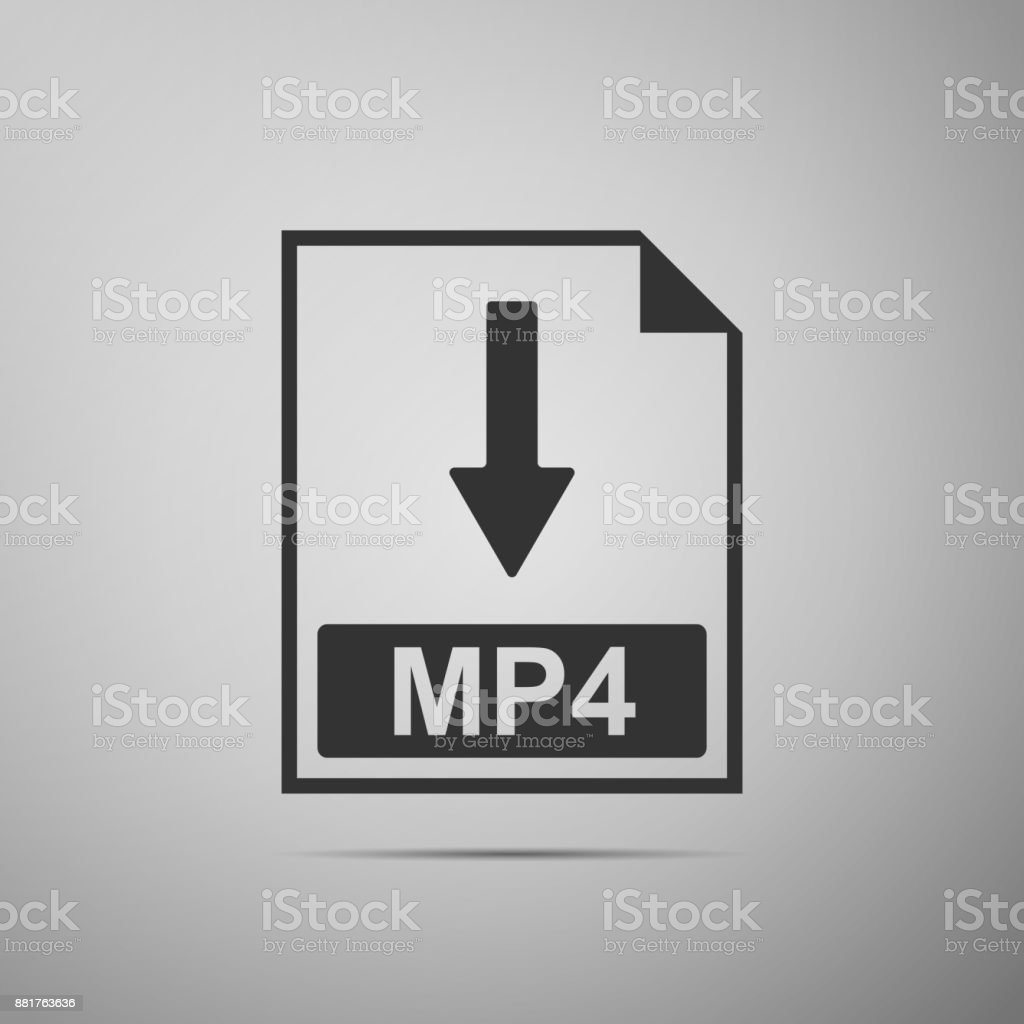 MP4 file document icon. Download MP4 button icon isolated on grey background. Flat design. Vector Illustration vector art illustration