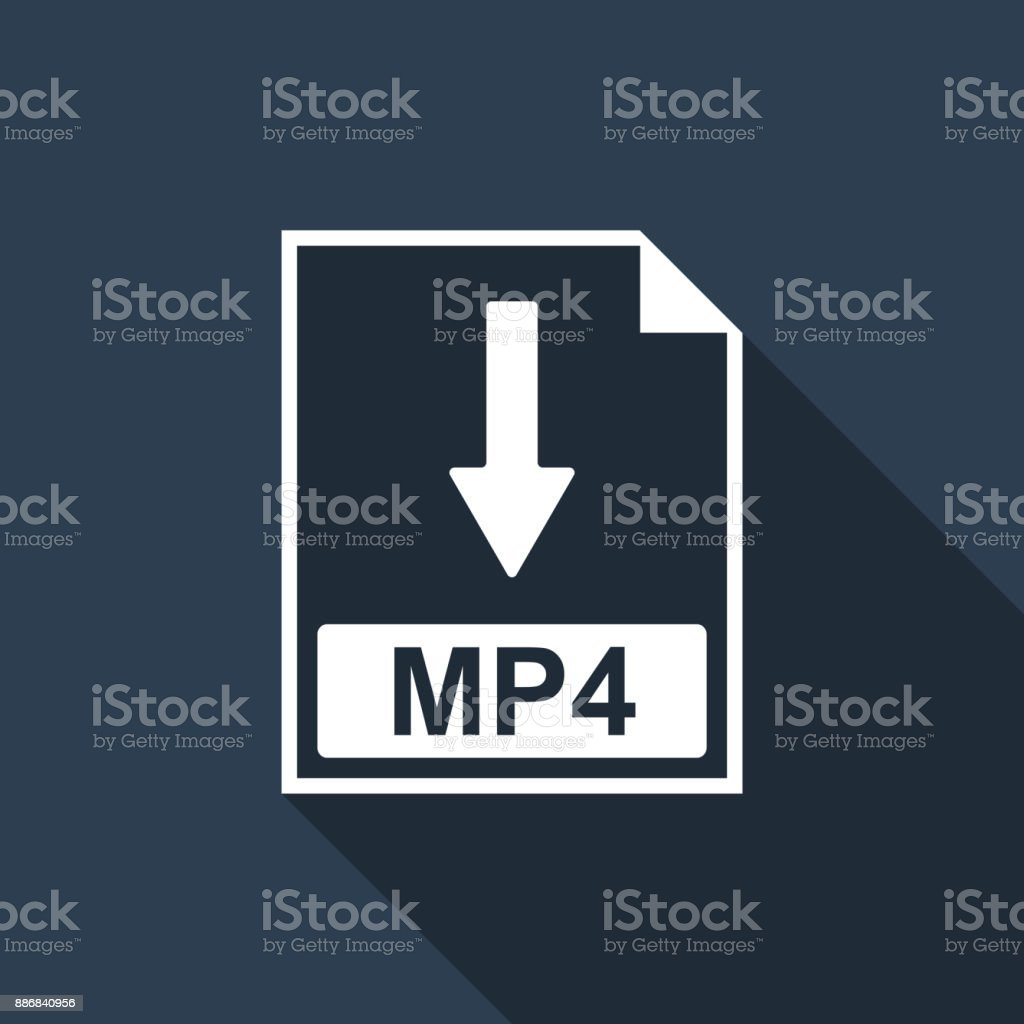 MP4 file document icon. Download MP4 button icon isolated with long shadow. Flat design. Vector Illustration vector art illustration