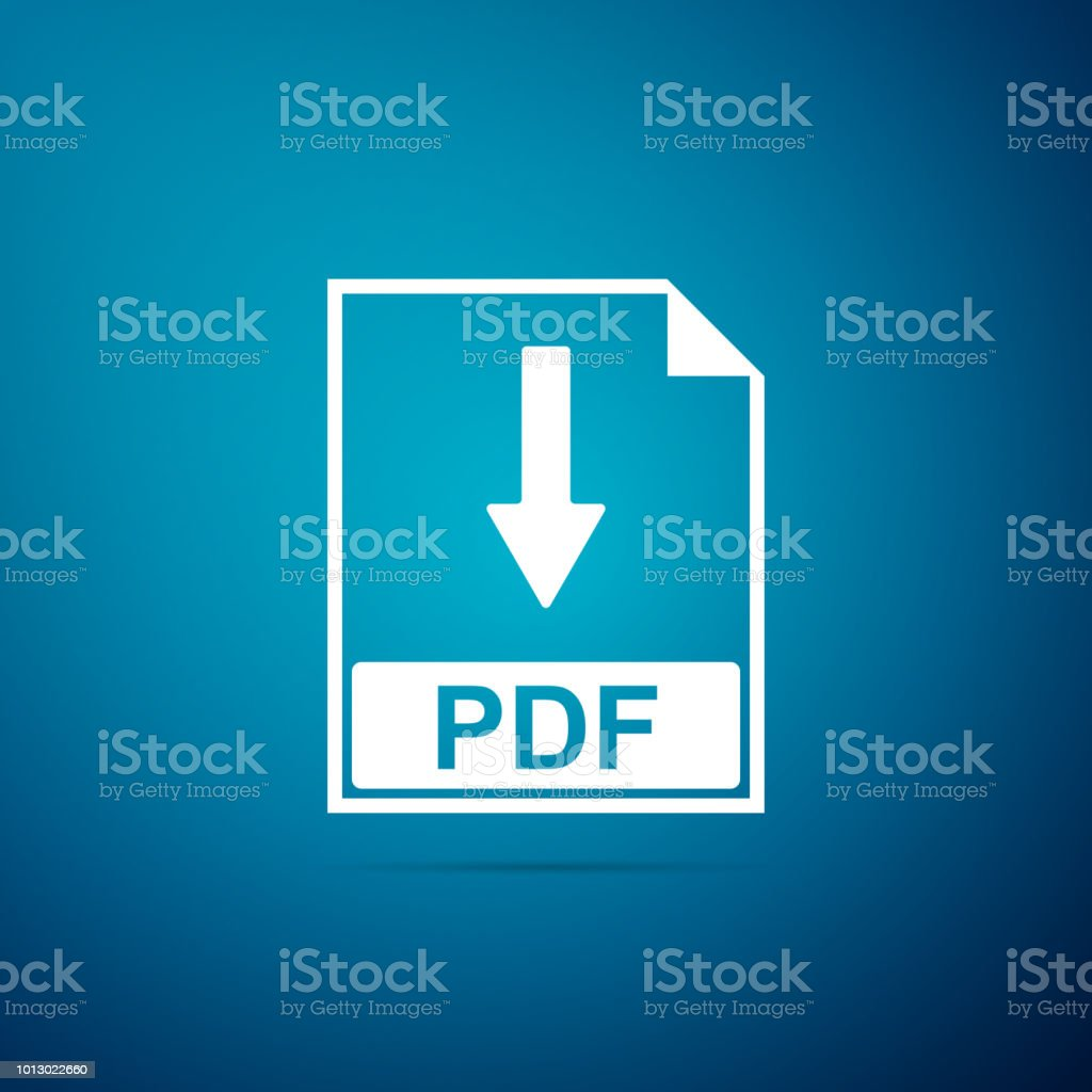 PDF file document icon isolated on blue background. Download PDF button sign. Flat design. Vector Illustration - Illustration .