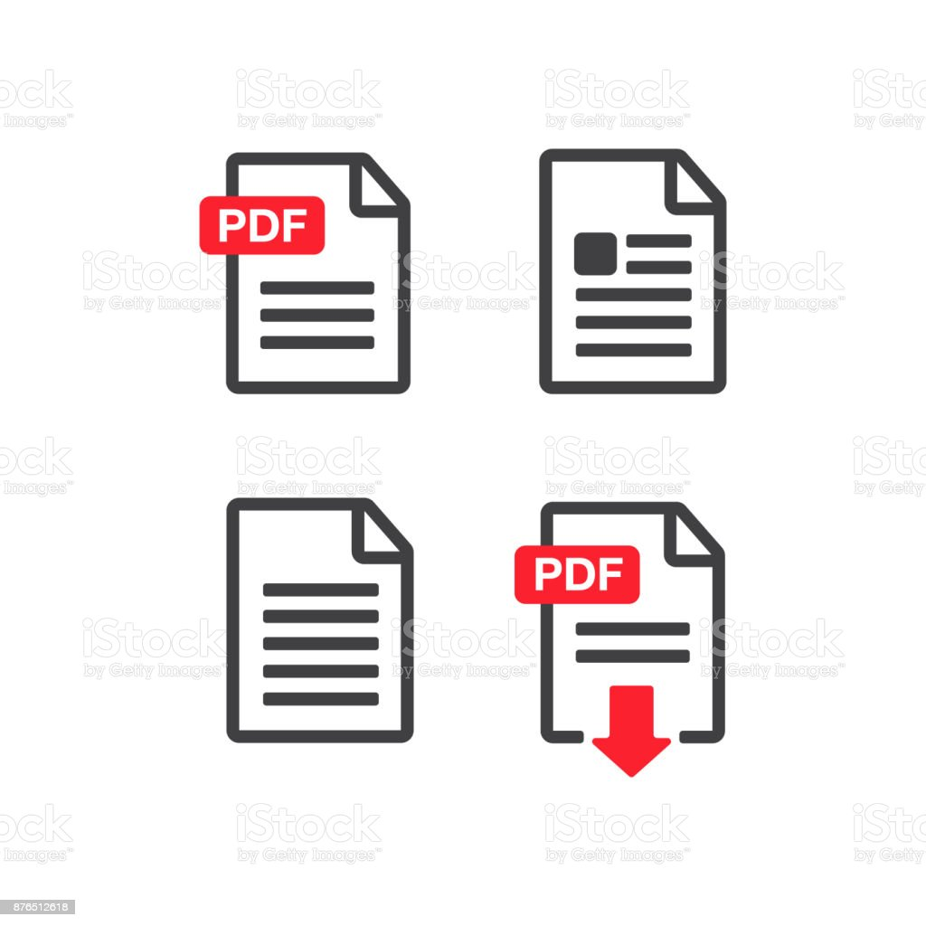 File download icon. Document text, symbol web format information. Document icon set vector art illustration